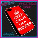 FITS IPHONE 4 / 4S PHONE KEEP CALM IM A BUILDER  PLASTIC COVER COOL GIFT RED